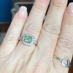 3.10 Ct gray/blue Moissanite halo ring!